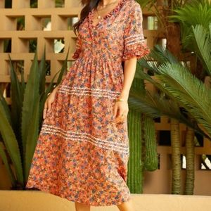 Suzanne Betro Ruffle Floral Flowy Boho Midi Dress